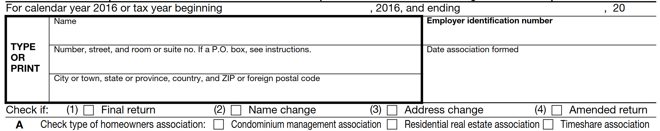 Form 1120-H Example